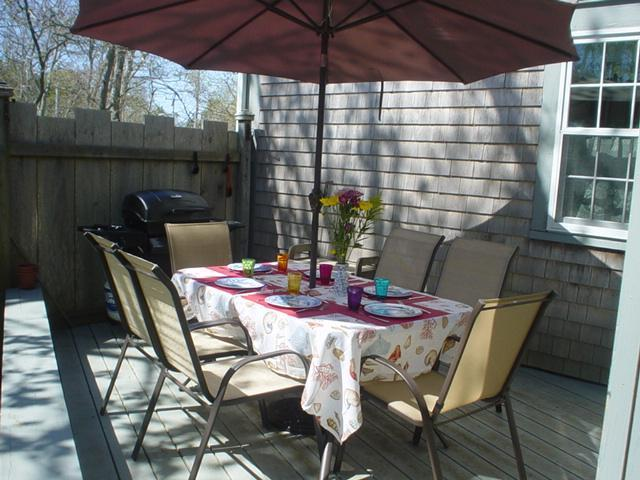 Deck with Dining and Gas Grill - 265 Chatham Road Harwich Cape Cod New England Vacation Rentals