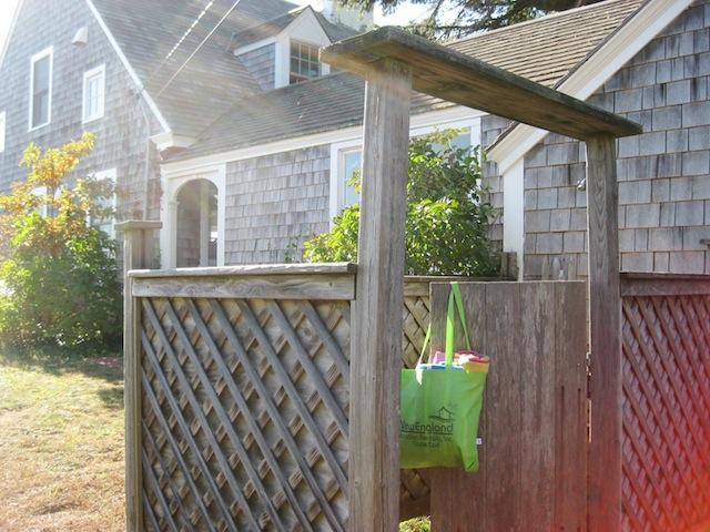 Enclosed outdoor shower with hot and cold water - 30 Seabeach Road Chatham Cape Cod New England Vacation Rentals