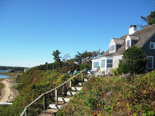 Stairs to the waterfront on Oyster River - 30 Seabeach Road Chatham Cape Cod New England Vacation Rentals
