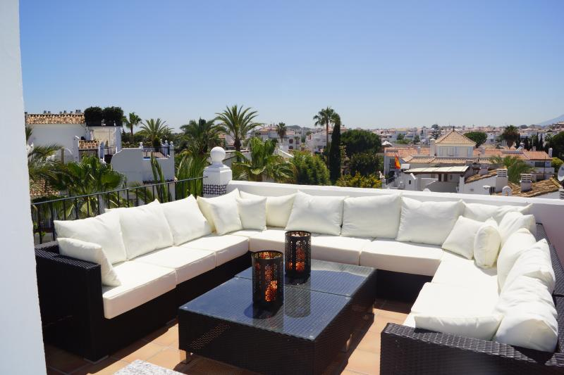 The sitting area on the roof terrace