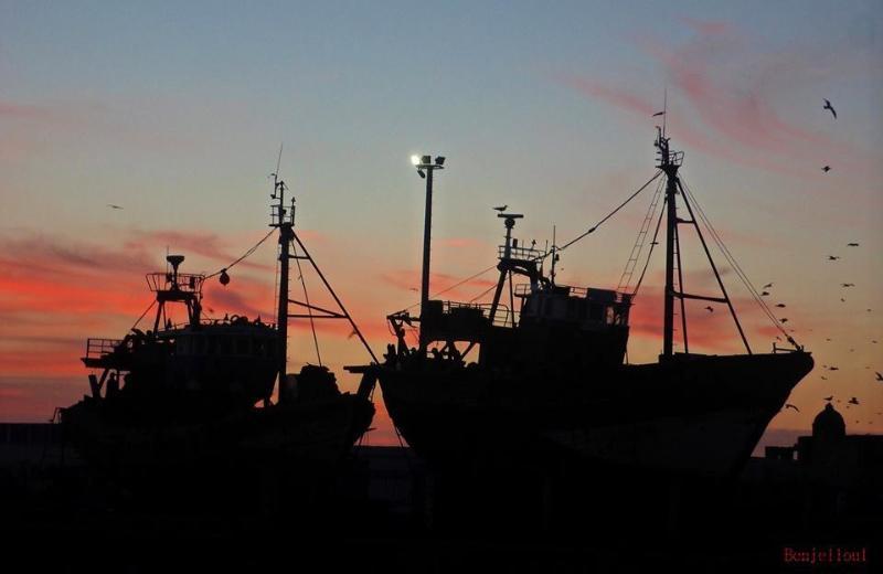 le Port d'Essaouira au coucher de soleil