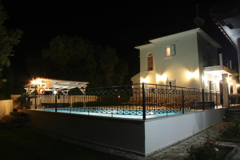 Villa & Pool at night