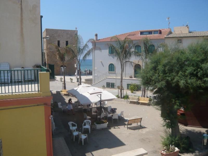 Inspector Montalbano's house,the tower and the sea as seen from the balcony