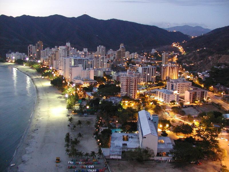 View of El Rodadero Beach at Night
