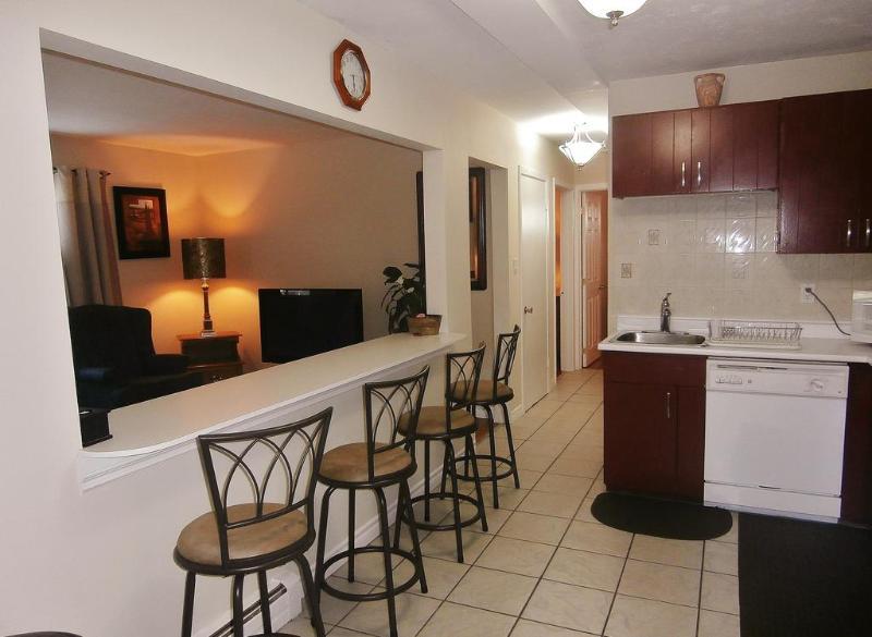 Suite 2. Open Concept Kitchen/Breakfast Bar overlooking Living Room.