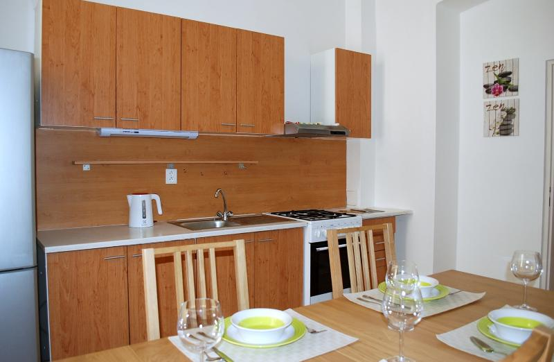 2 bedroom + kitchen + garden. Large rooms, comfortable environment for your stay. Welcome to Prague.
