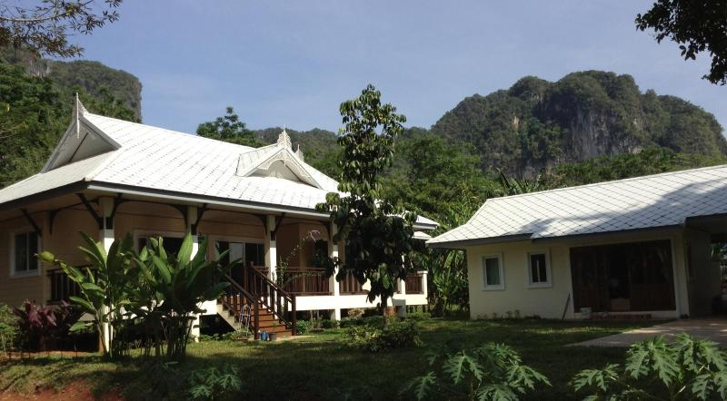 Front view of the house, the hills in the background