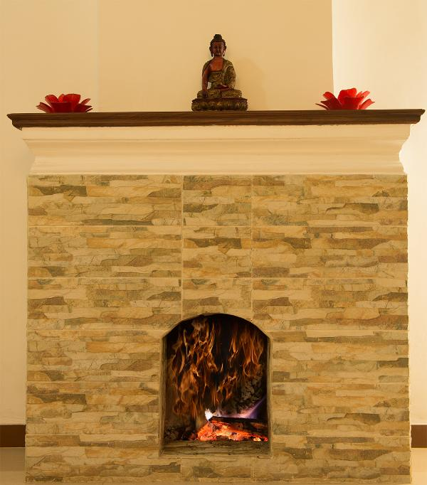 Mantel above the fire place