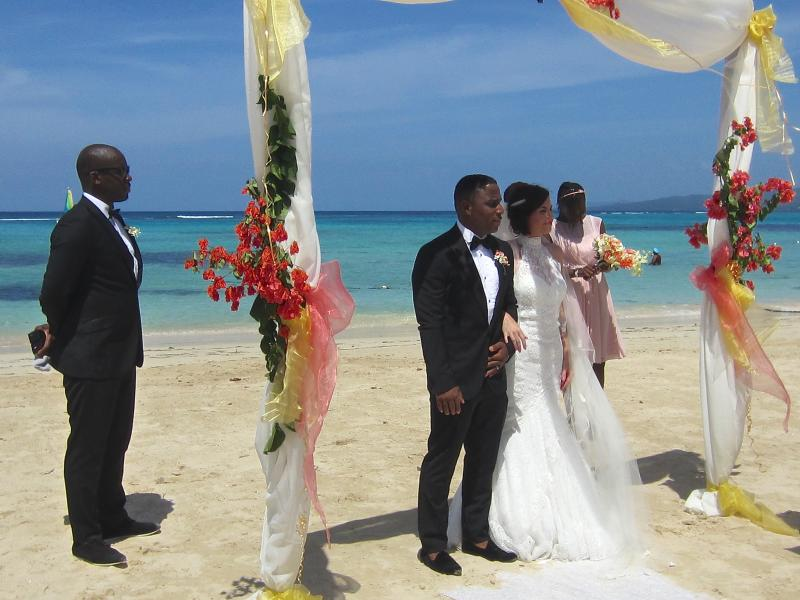 Marriage ceremony on Mammee Bay Estate's private beach