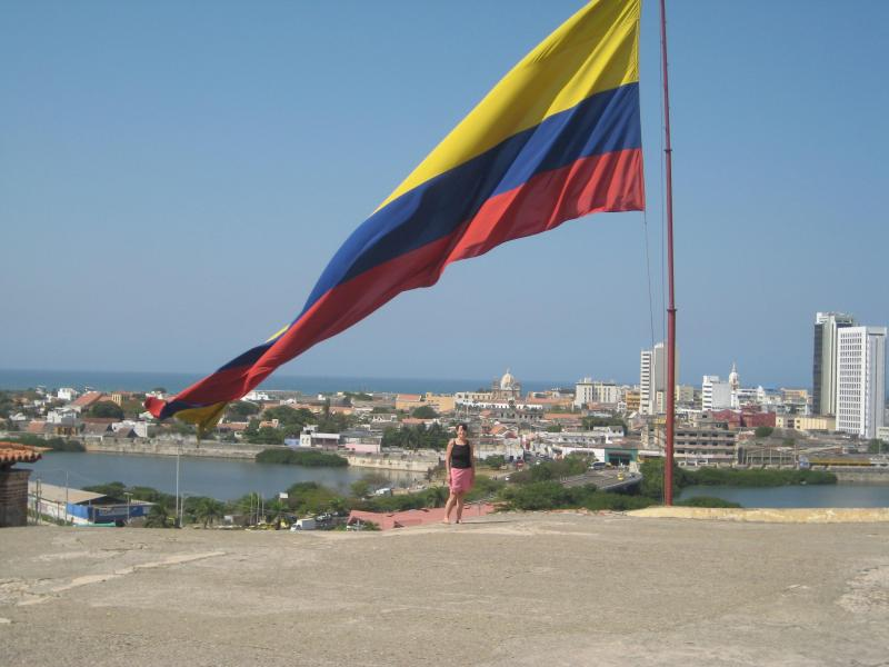 View of Cartagena from the Castillo San Felipe and a giant Colombian flag!