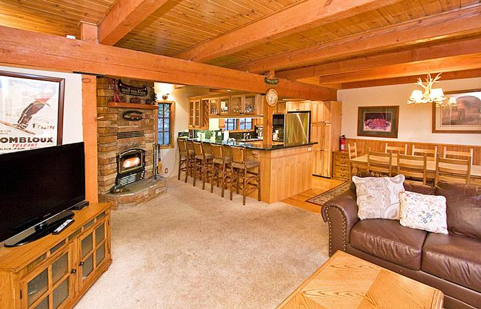 Timber Ridge #2 Living Area With A Wood Burning Fireplace