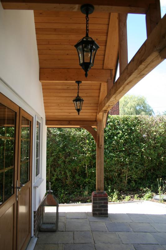 Oak frame entrance with lights