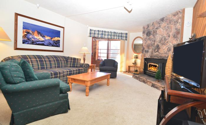 Aspen Creek #104 Living Area With A Queen Sofa Bed and A Wood Burning Fireplace