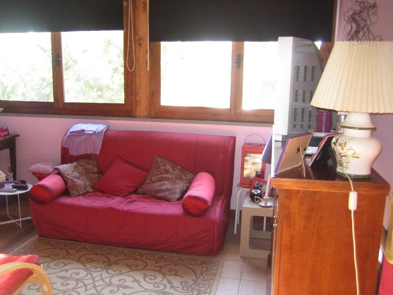 Living Room: sofa bed (transforms into double bed)