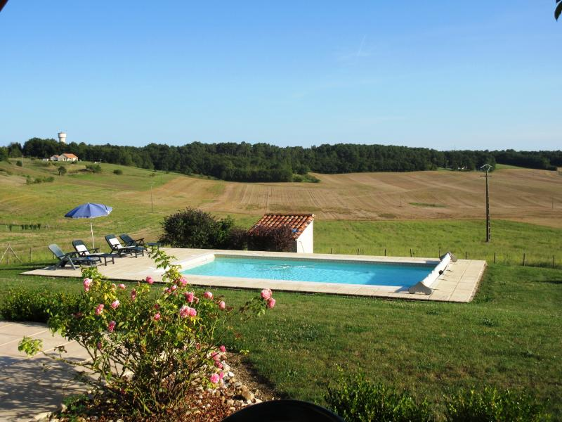 The private pool and views of spectacular countryside around