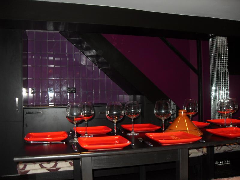 Dining room with wine cooler and fridge to keep you and your beverages chilled
