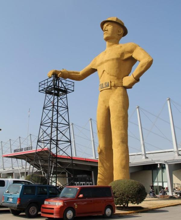 Just blocks away is the iconic Golden Driller statue at the Tulsa State Fairgrounds.
