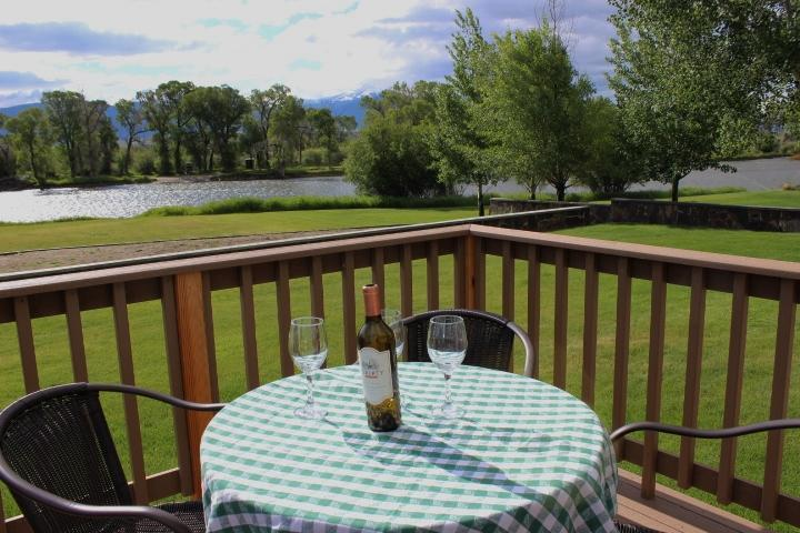 Dine on the deck overlooking the Madison River