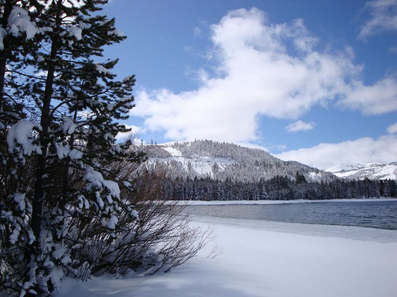 Shoreline i Donner State Park ett kvarter från hytten och bra för längdskidåkning och snöskovandring.