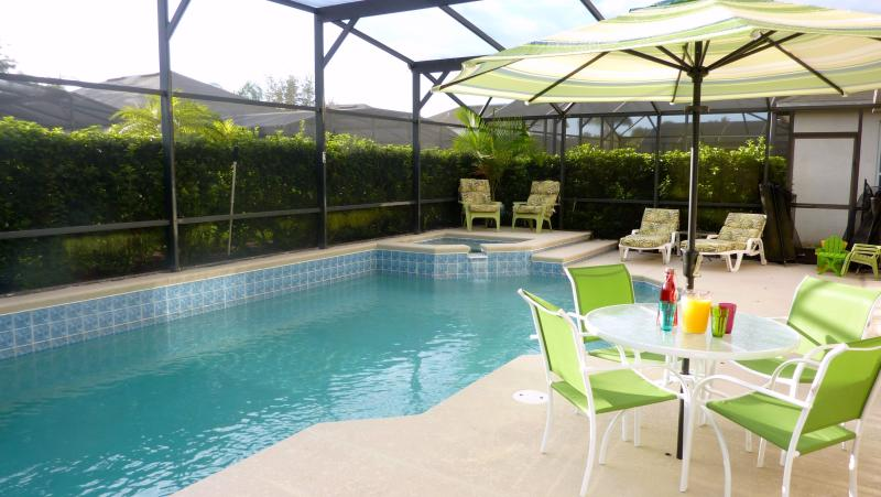 Privacy heated pool with hot tub, loungers, parasols, inflatables