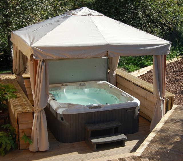 The Secret Yurts luxury hot tub.