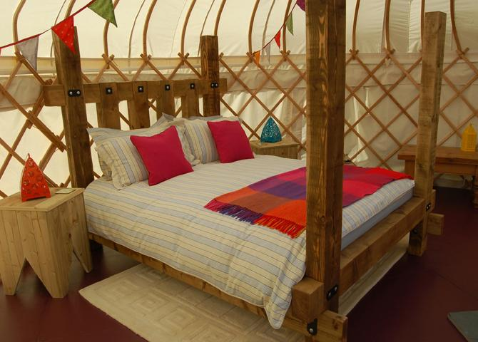 The secret Yurts king size bed.
