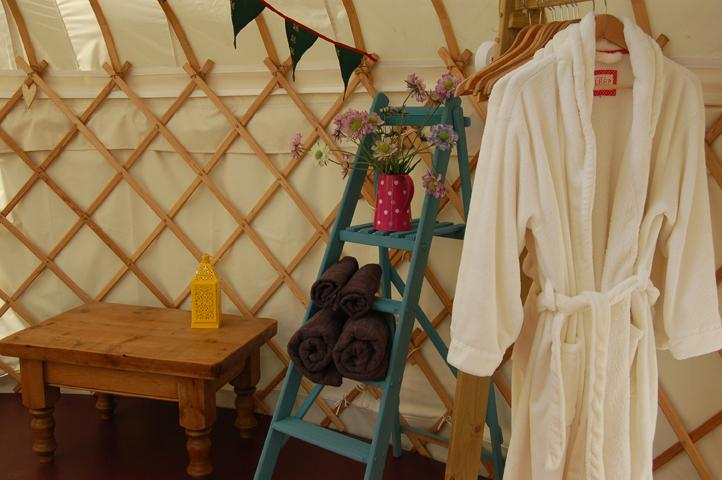 The Secret Yurts where dressing gowns are provided.