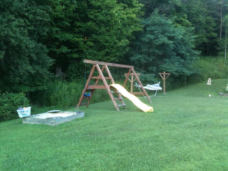 Kid's swingset and sandbox