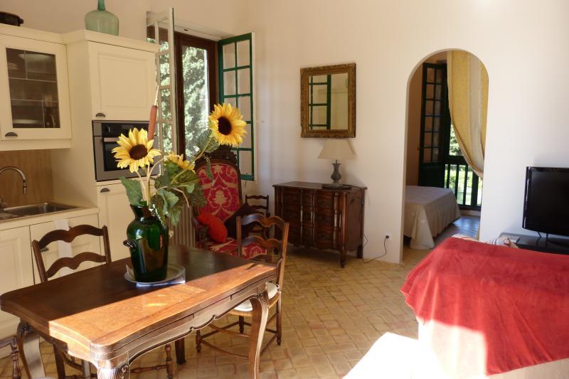 Wohn- und Esszimmer offen zum Zimmer Wohnung Les Oliviers