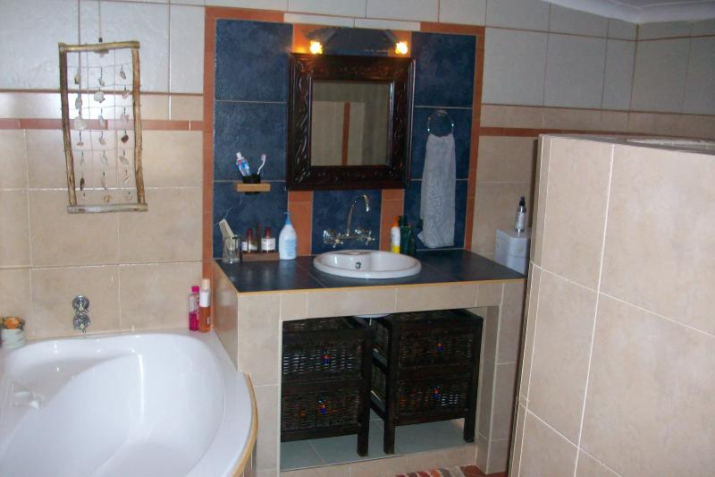 Bathroom- bath, shower, toilet and wash basin