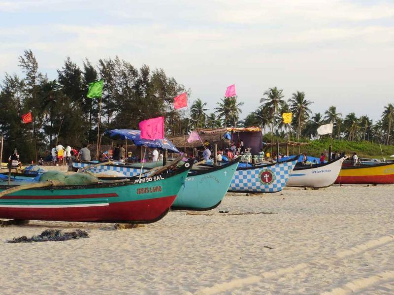 Fishing boats on Benaulim Beach