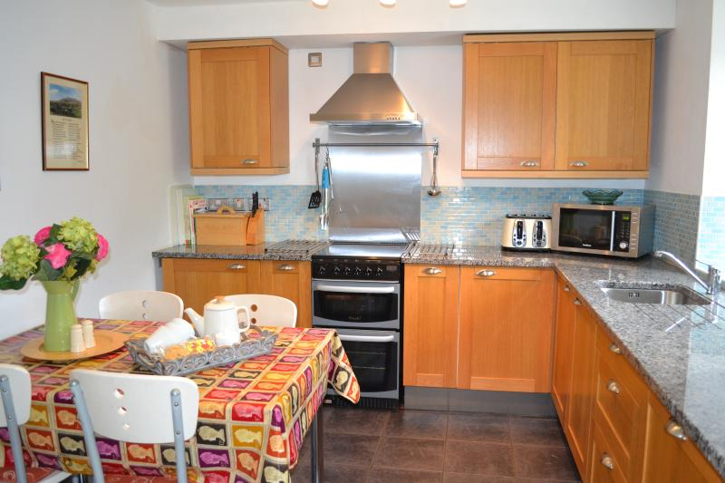 Modern fitted kitchen with ceramic hob, electric cooker and dishwasher.