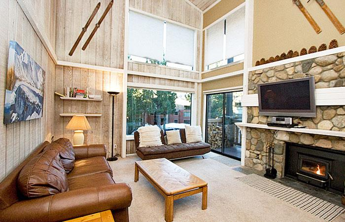 The Summit #F40 Living Area With A Wood Burning Fireplace