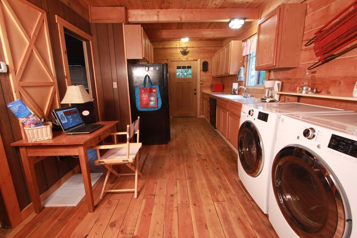Ultra Quiet Washer and Dryer, desk with high speed internet, efficient full kitchen