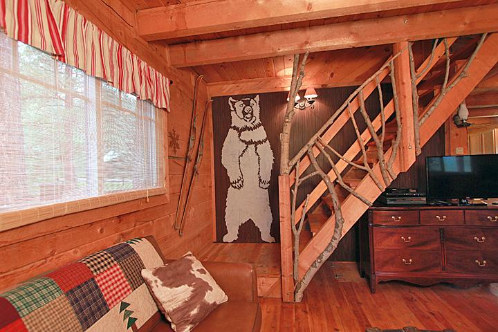 Another picture of bear and aspen railing stairway