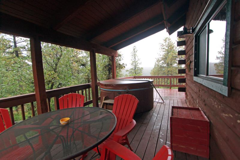Covered Hot Tub Deck with Stunning Tree Top and Mountain Views
