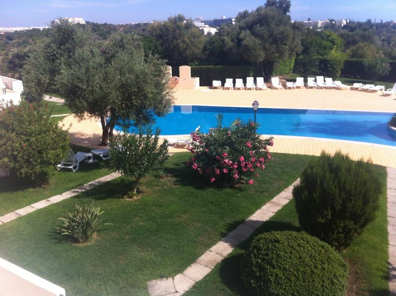 Well manicured gardens surround the swimming pool