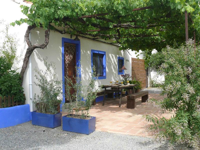 Façade avec terrasse à parral et table d'extérieur. Soleil en hiver et fraîche en été