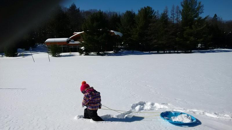 Serenity's 12 acres of lake and woods is great for exploring on X-Country skiis or snowshoes.