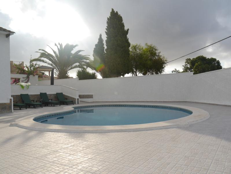 The spacious pool area is very private & benefits from heating during the cooler months