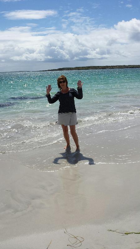 Marian on Dogs Bay beach Sept. 2014. Yes September !!  Hi...