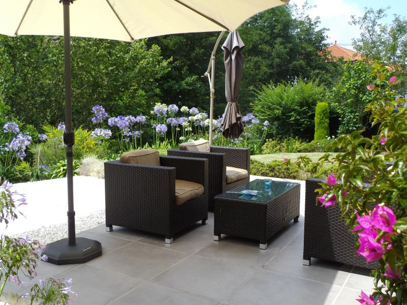 Relax on the comfortable outdoor sofas
