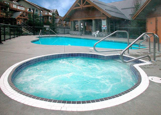 The pool shared hot tub are heated year round