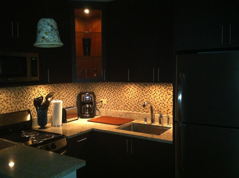 Kitchen at night.