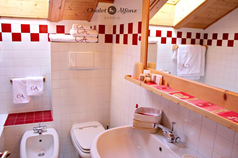 Chalet Alfonz | MANSARDA: bagno con doccia/vasca, bathroom with shower/bath and washing machine