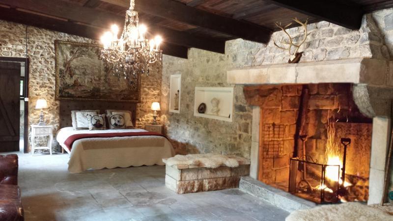 La chambre et sa sublime cheminee