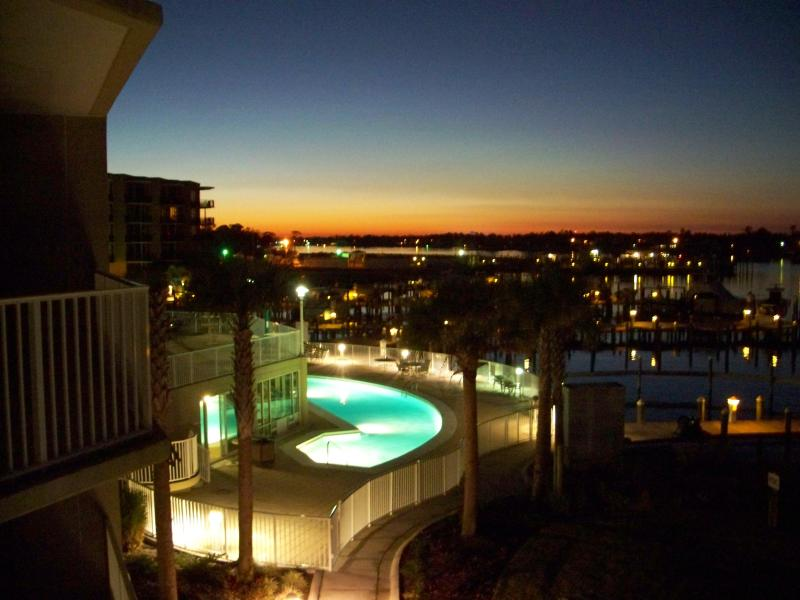 Sunset and the outdoor pool at night