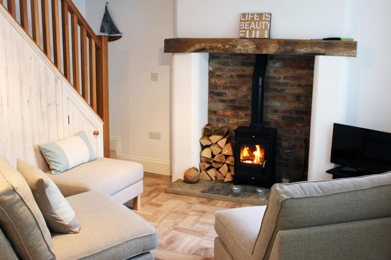 Seating area with log fire