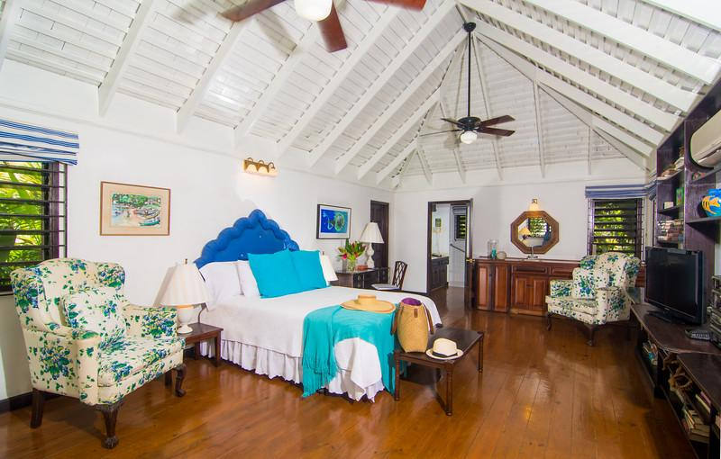 The Cottage is a 400-sq-ft building a few steps from the main villa with its own wet bar and mini-fridge. An excellent handicap accommodation, the Cottage has a wheelchair accessible shower and bench, booster toilet with side rails, and Jacuzzi bathtub.