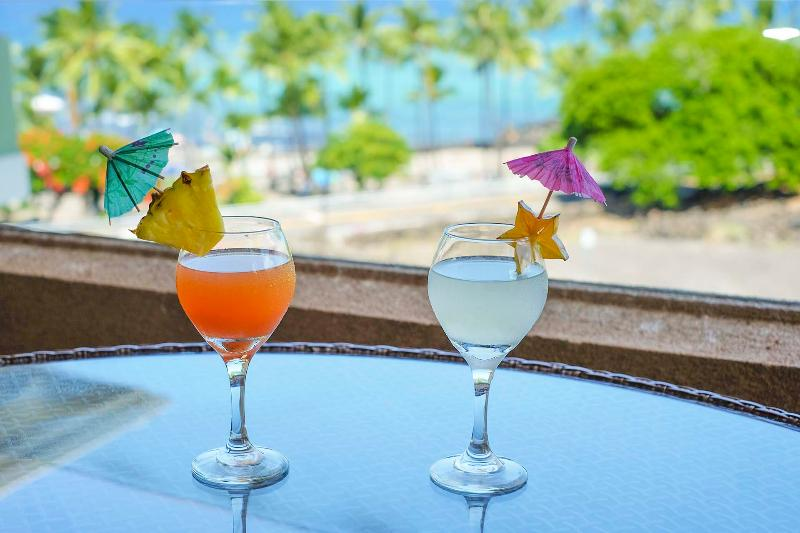 Enjoy a cocktail & relax on the outdoor lanai while soaking in views of Kahaluu.